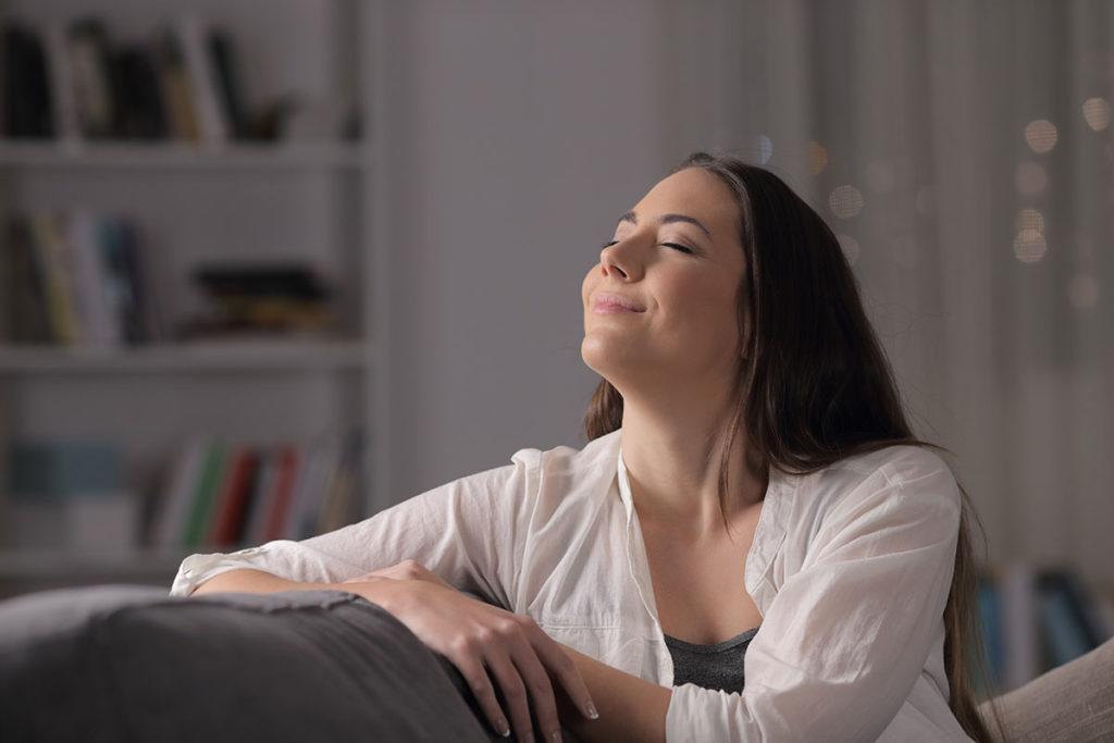 woman breathing air